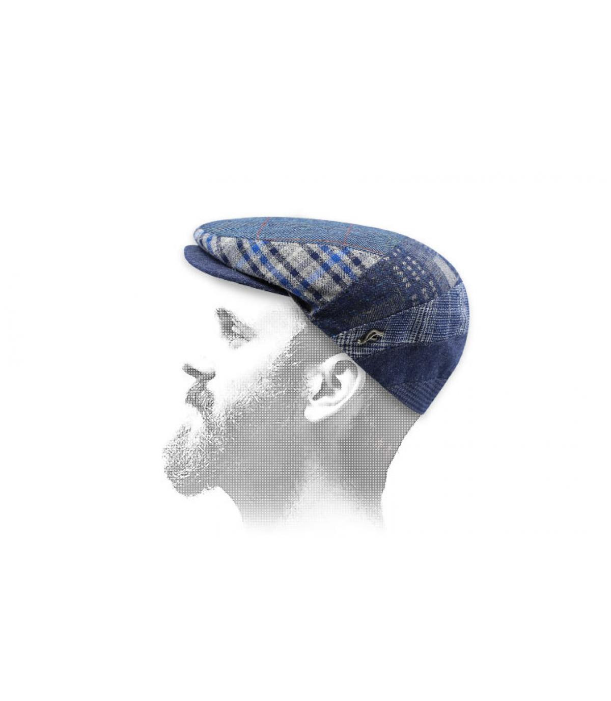 blue beret linen patchwork