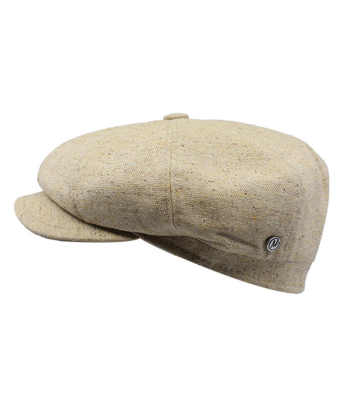 beige linen newsboy cap