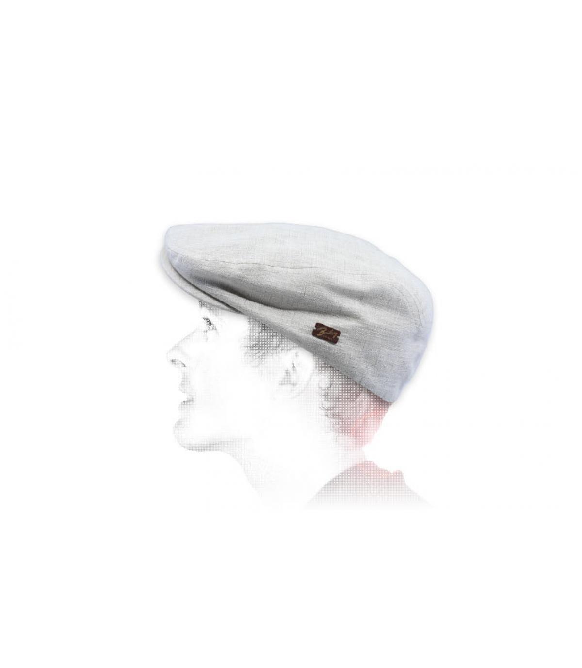 beige linen flat cap