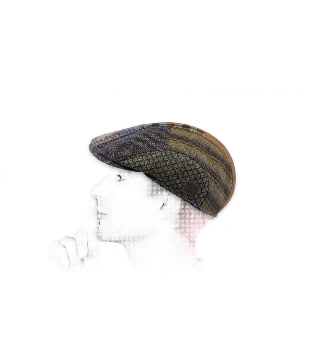 patchwork flat cap linen