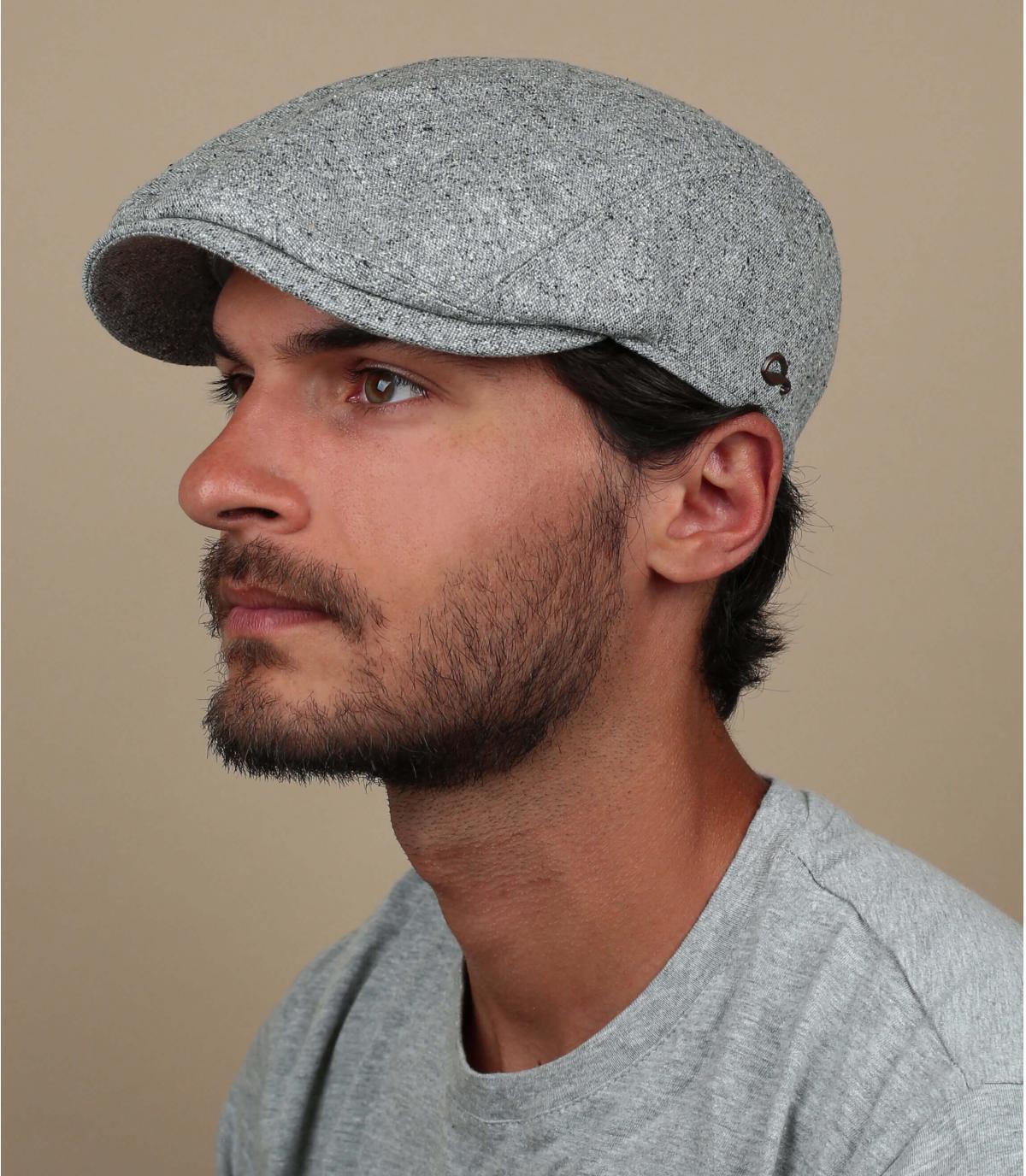 grey flat cap silk