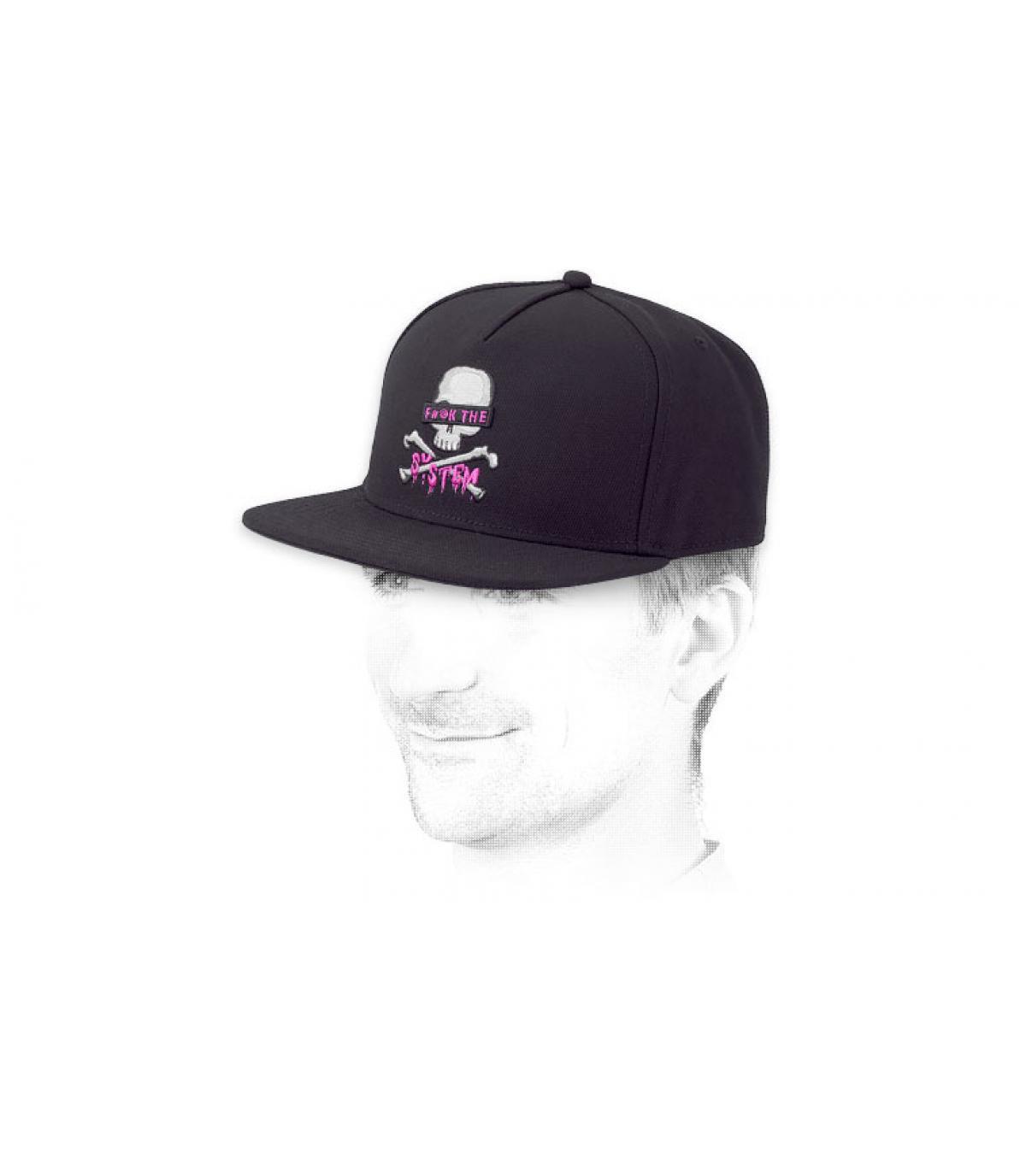 black skull snapback