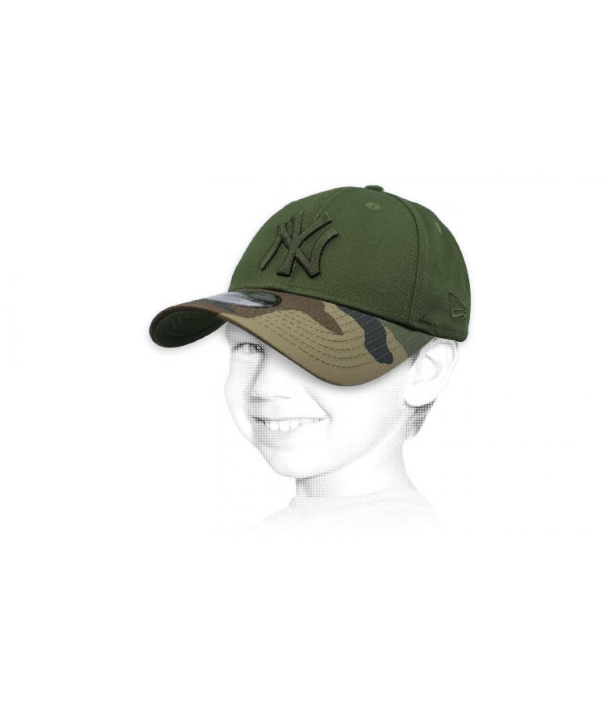 green camo kids NY cap