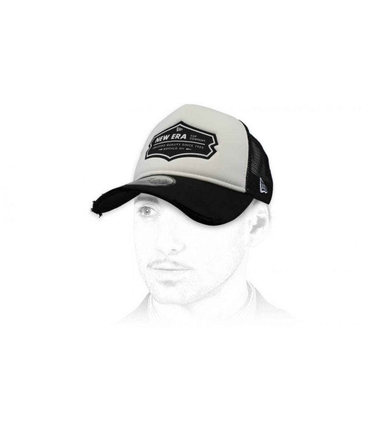 black white New Era trucker