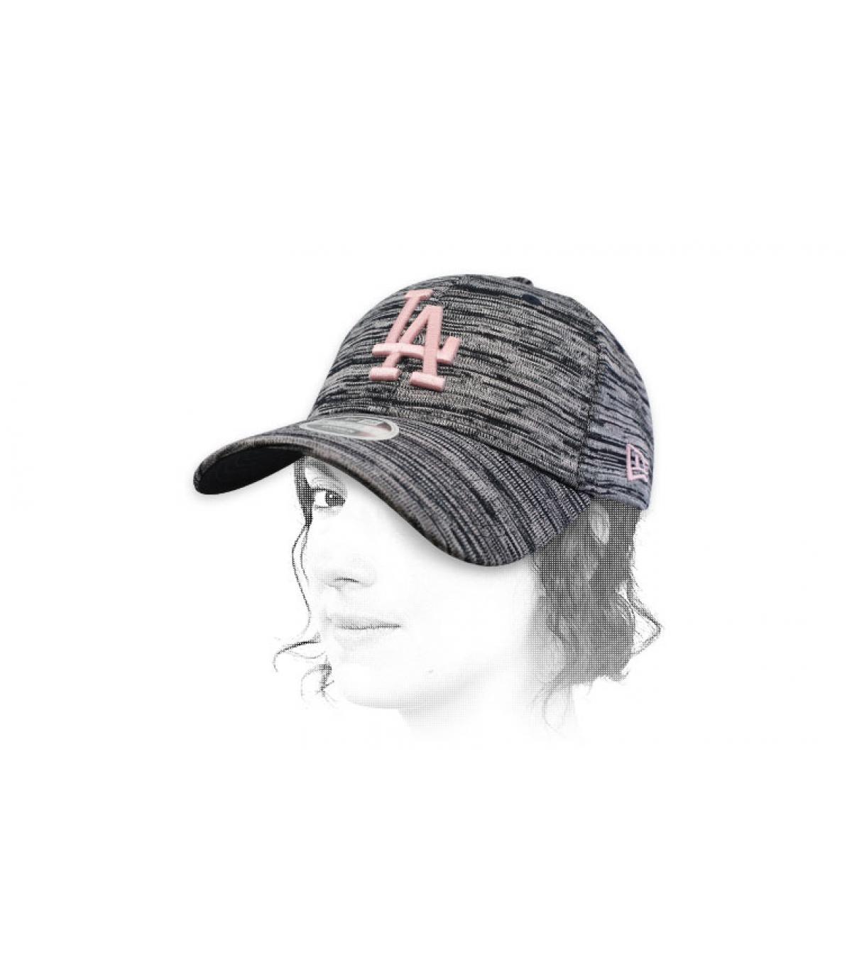 pink blue LA cap