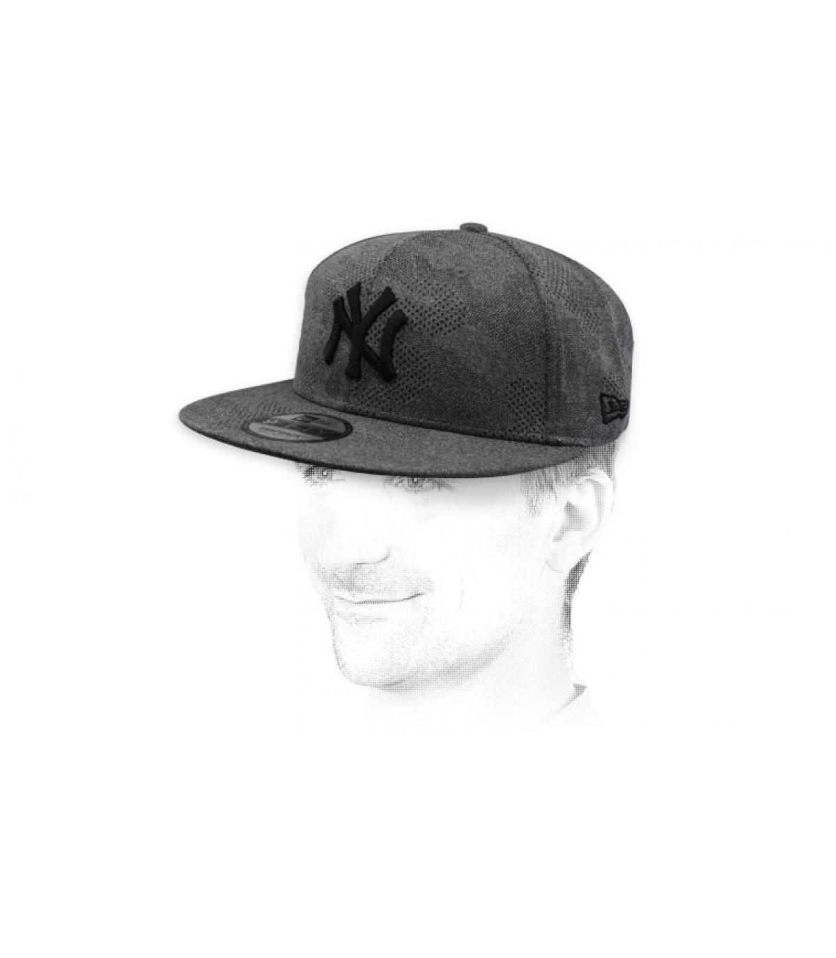 black grey NY snapback
