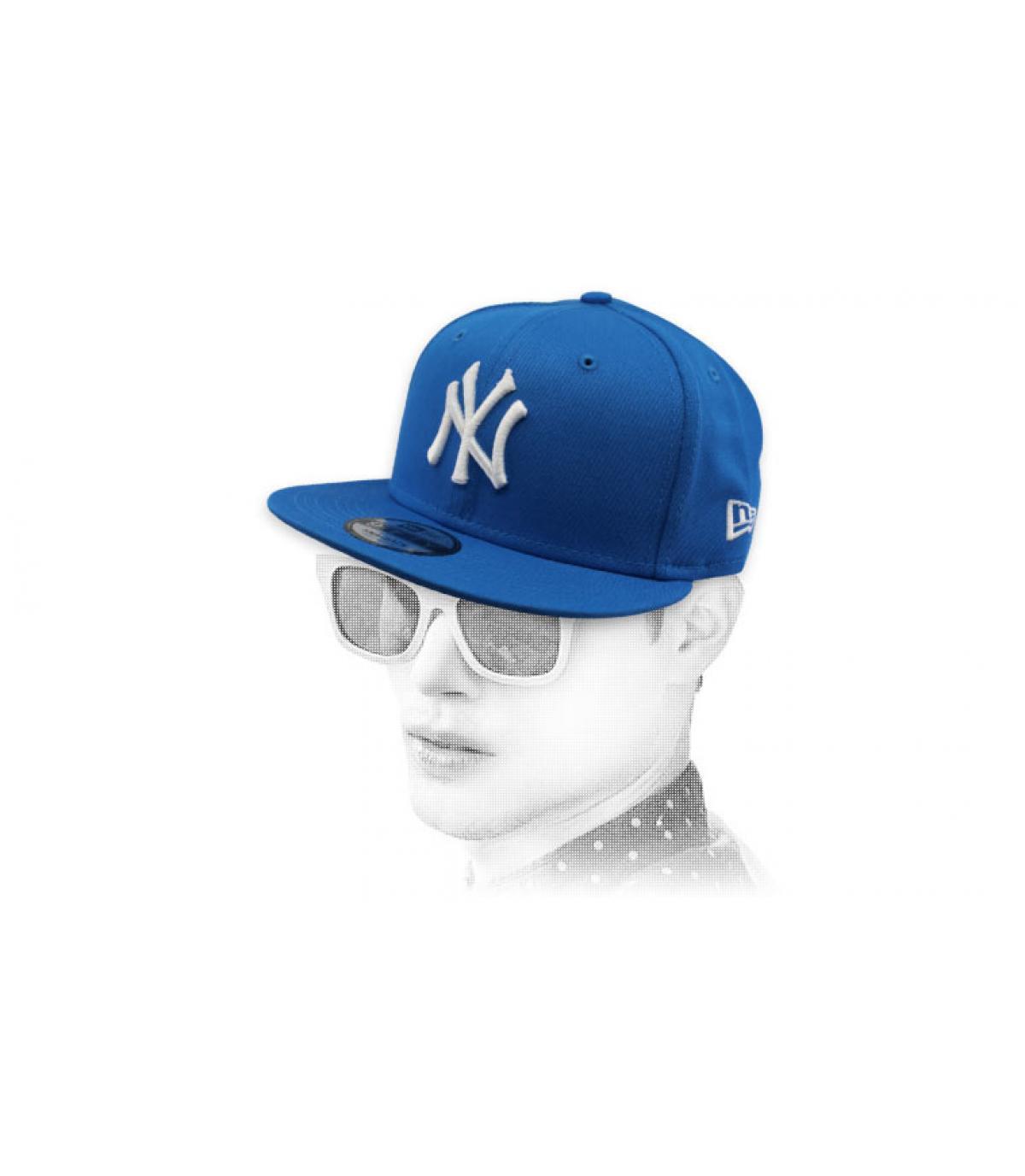 blue white NY snapback cap