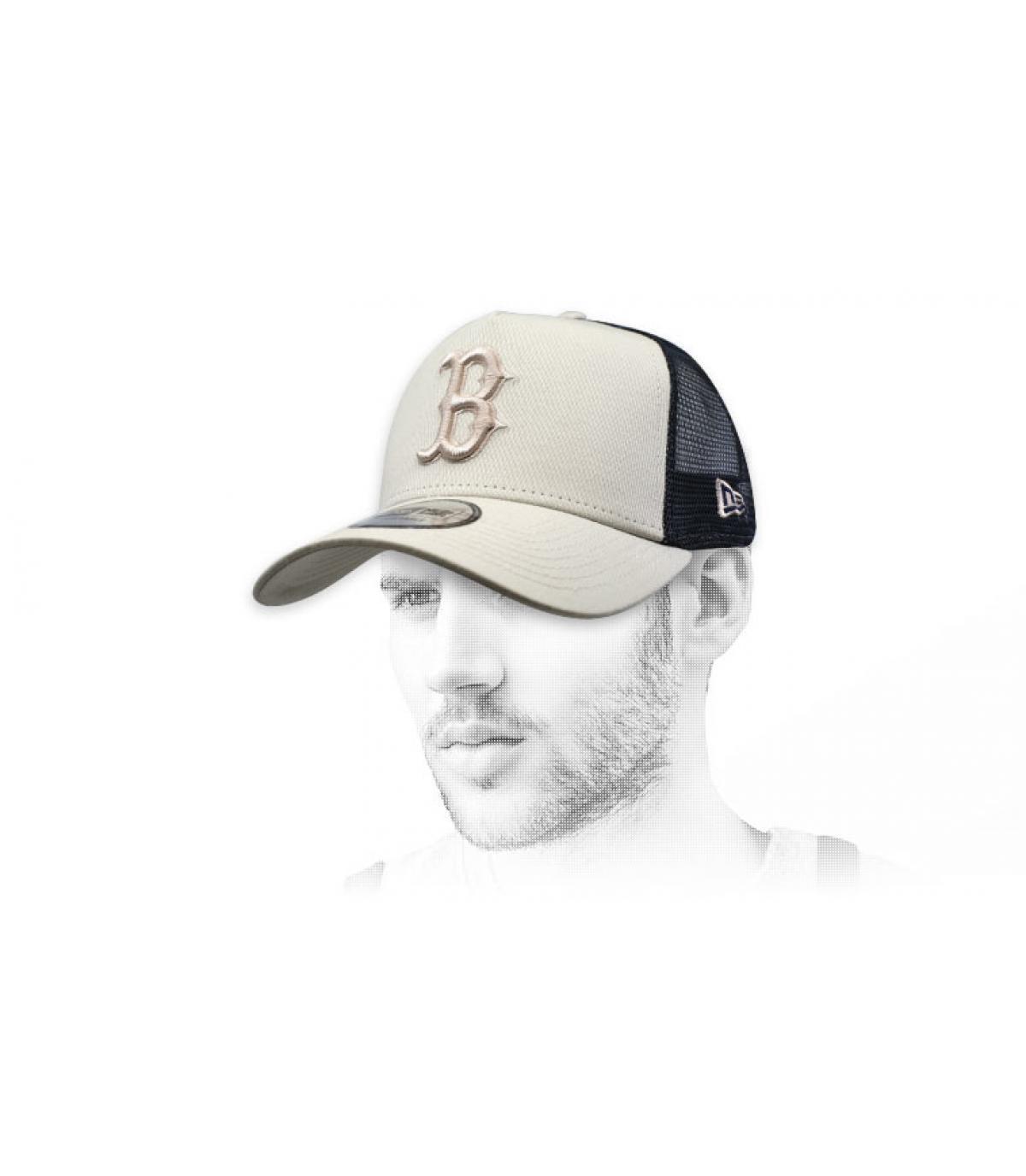 black beige B trucker