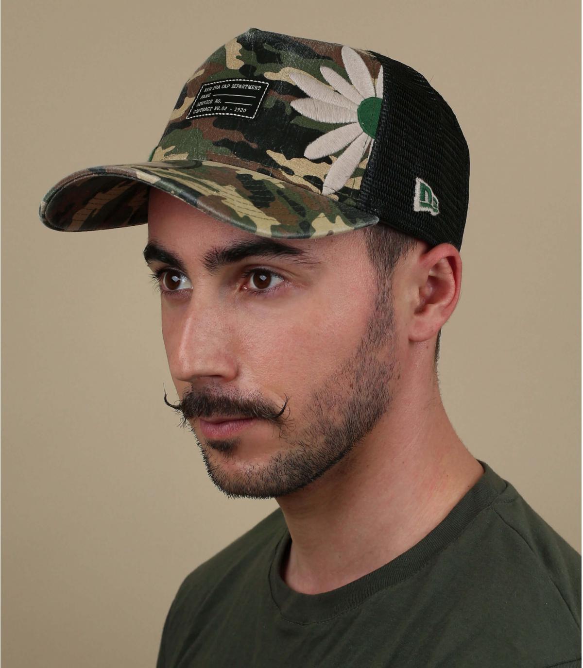 camo flower trucker cap