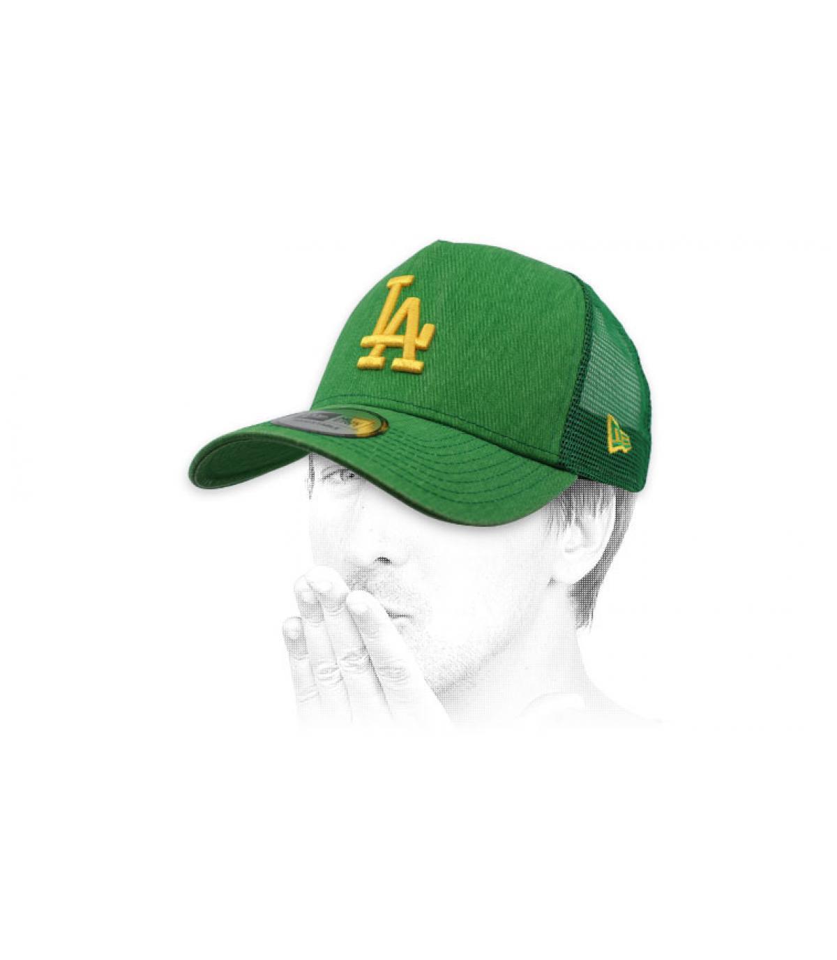 green yellow LA trucker