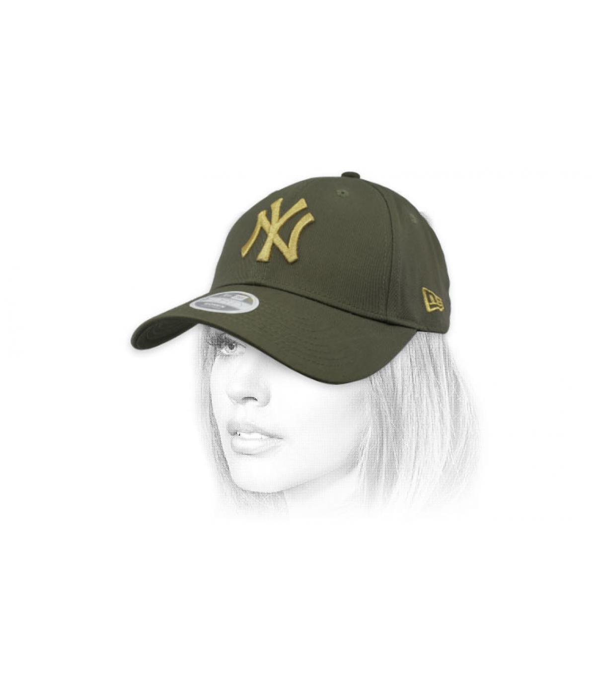 green gold kids NY cap