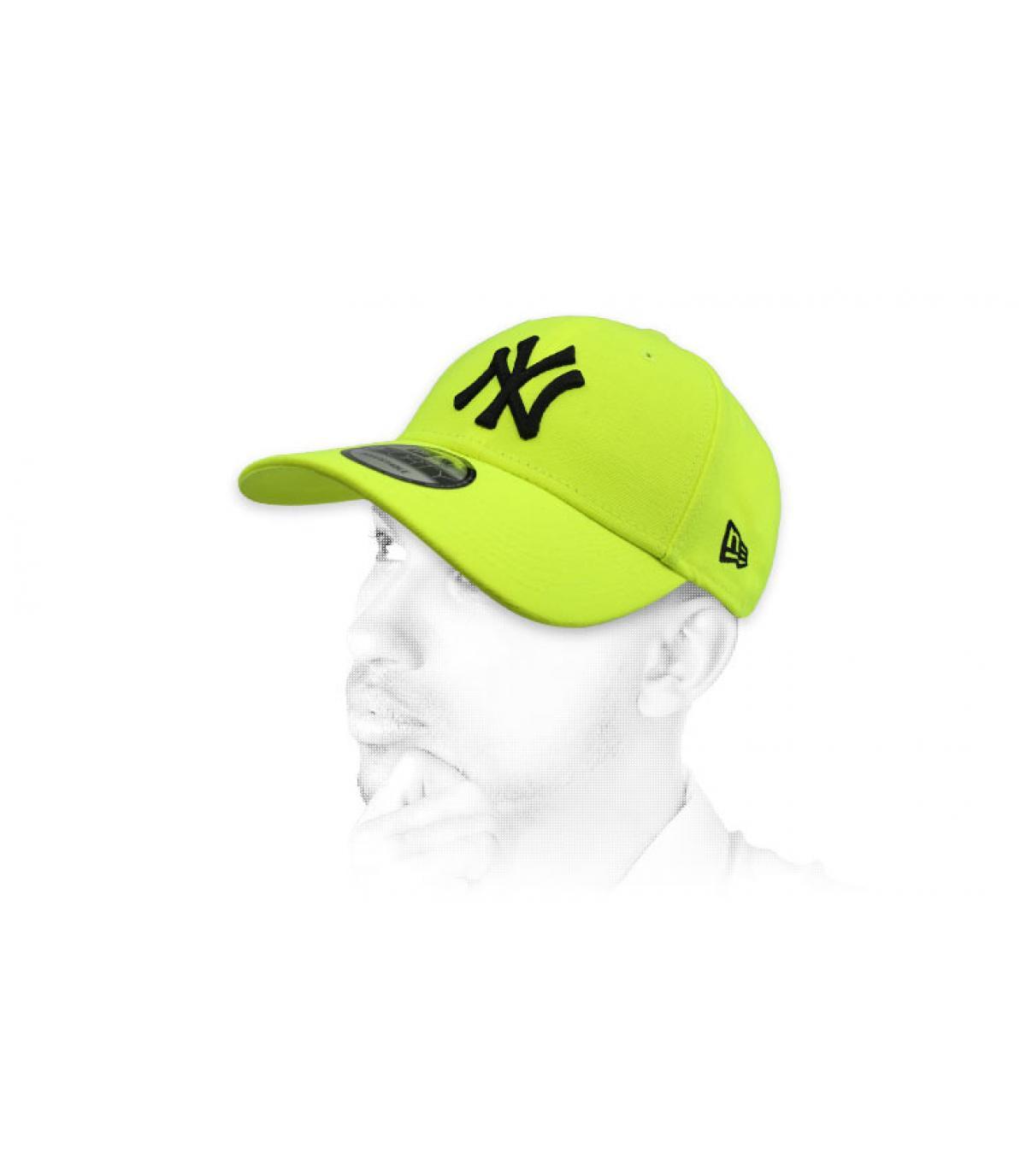 fluorescent yellow NY cap