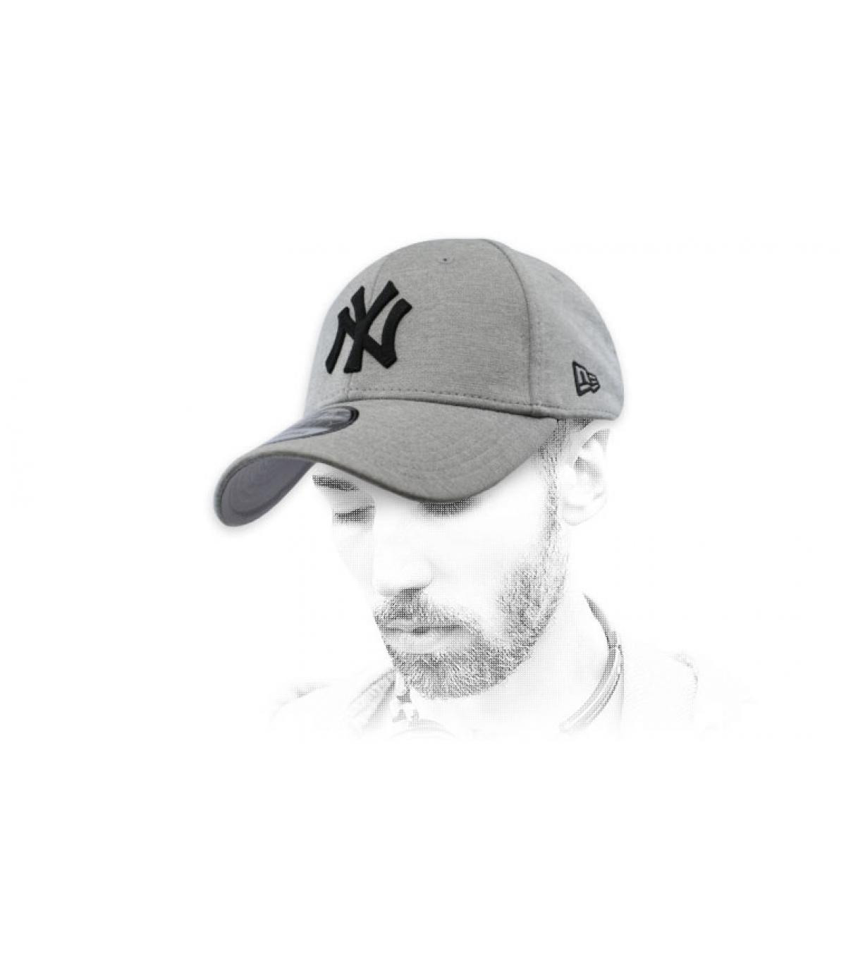 grey and black NY cap