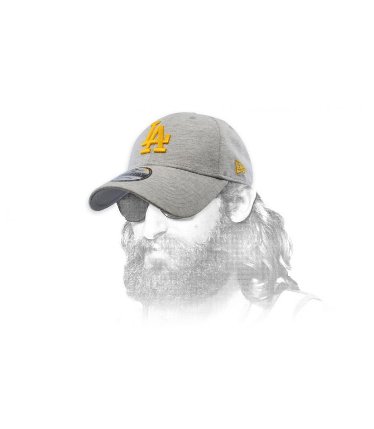 grey and gold LA cap