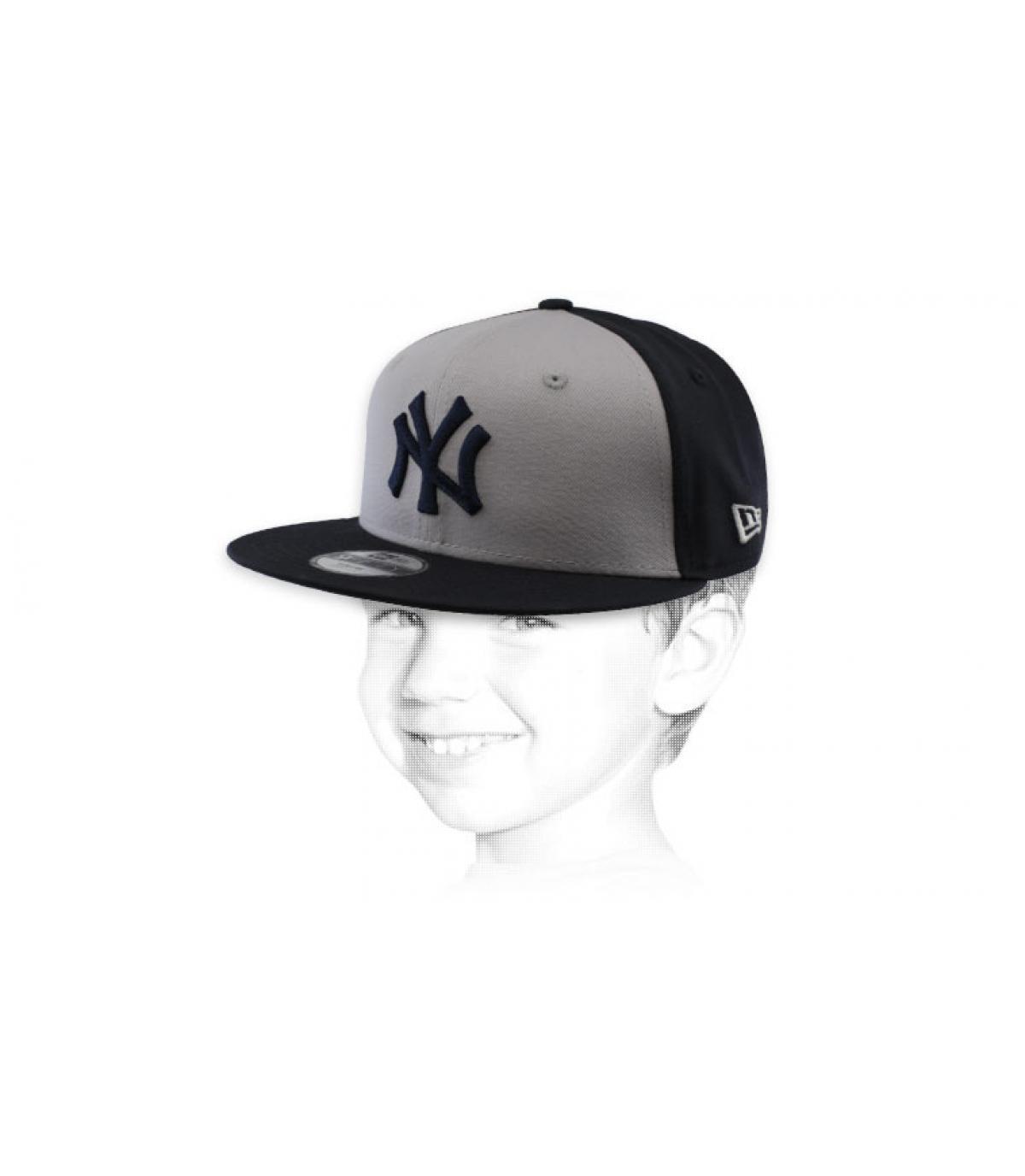 kids black grey NY snapback