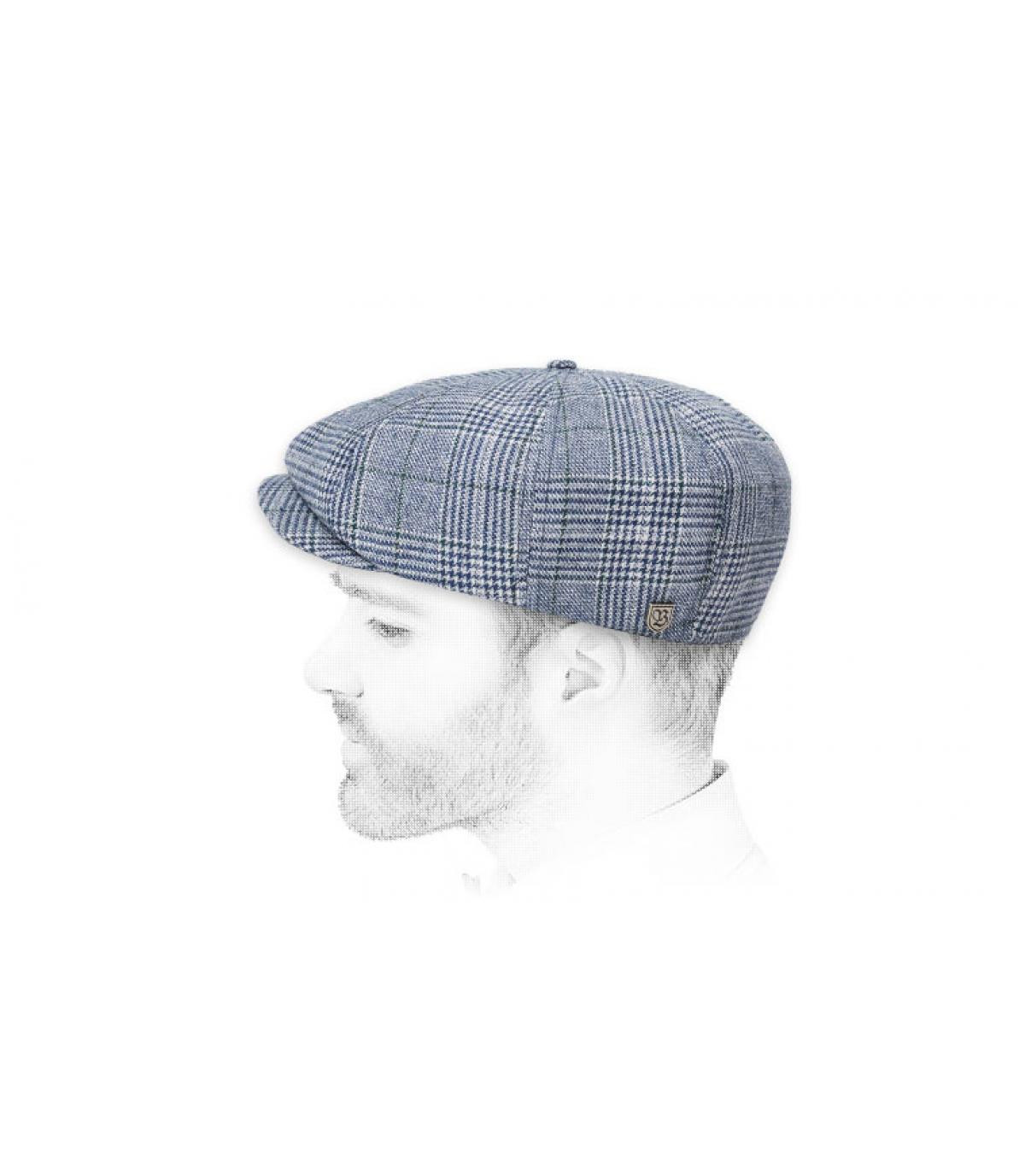 blue newsboy cap plaid