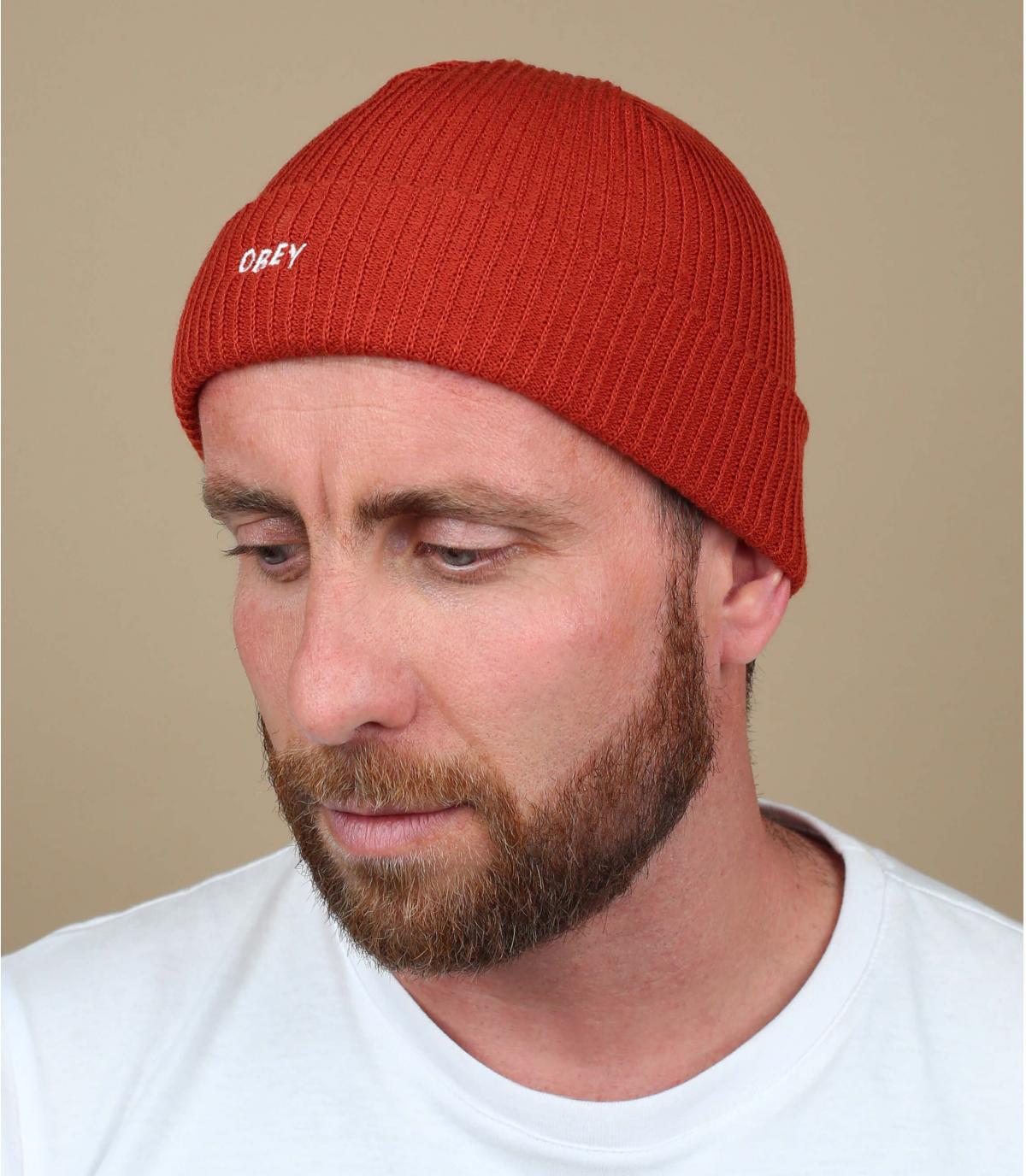 Obey red cuffed beanie