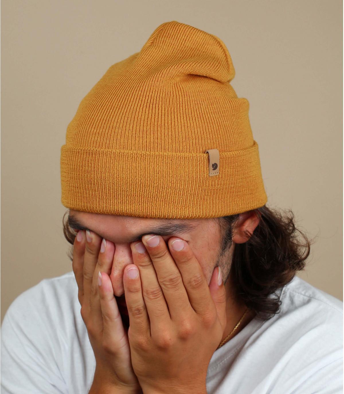 brown Fjällräven wool beanie