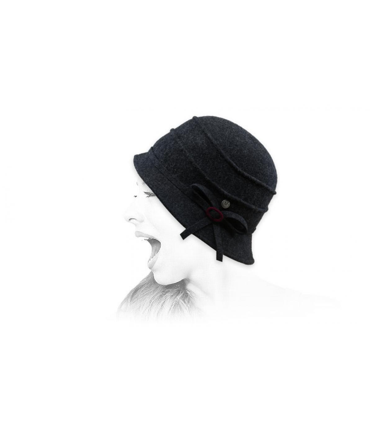 grey wool felt cloche hat