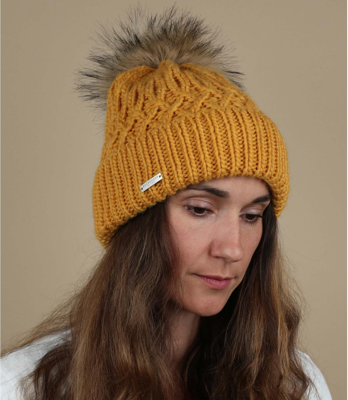 yellow pompom beanie fur