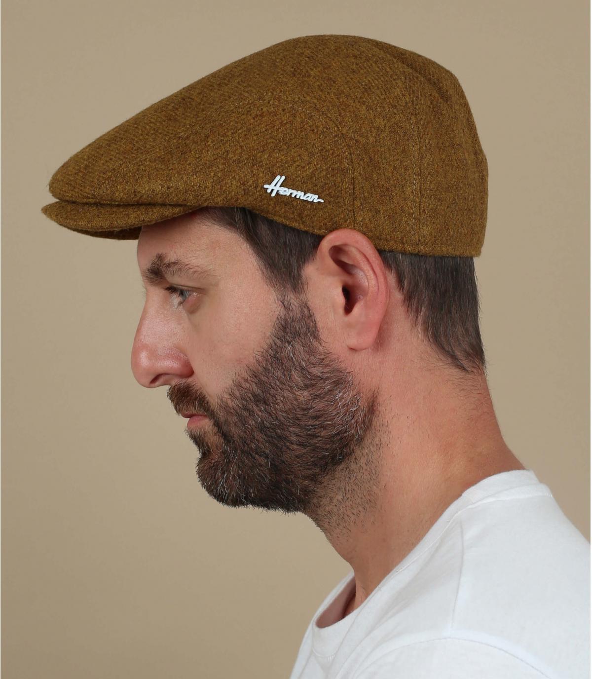 yellow wool flat cap