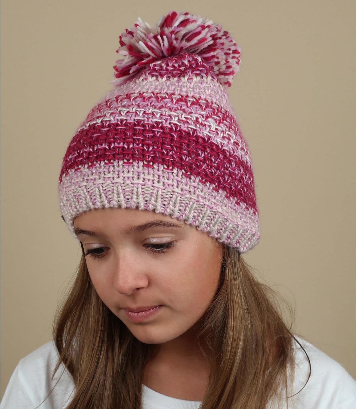 pink pompom beanie wool