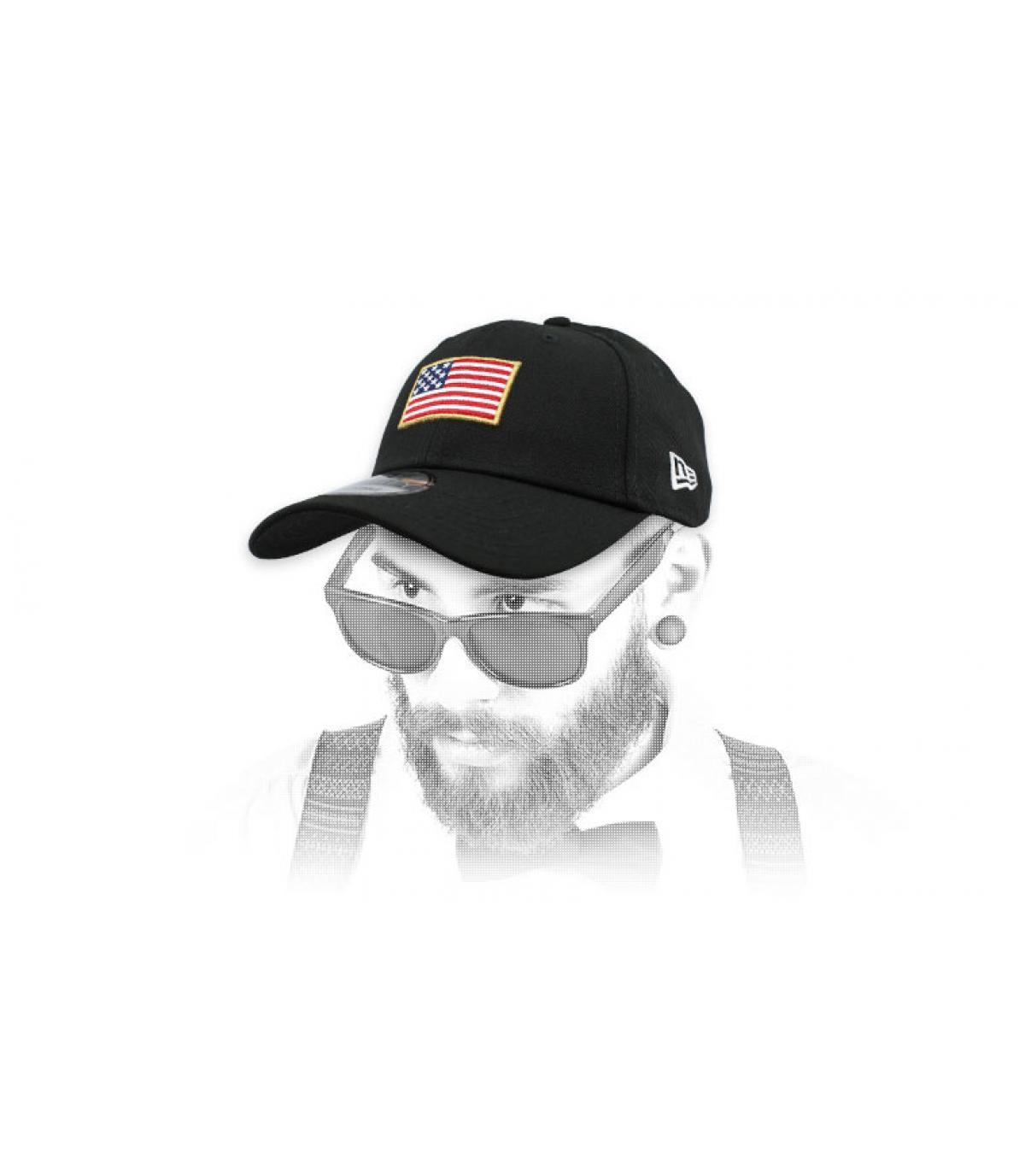 black US flag cap