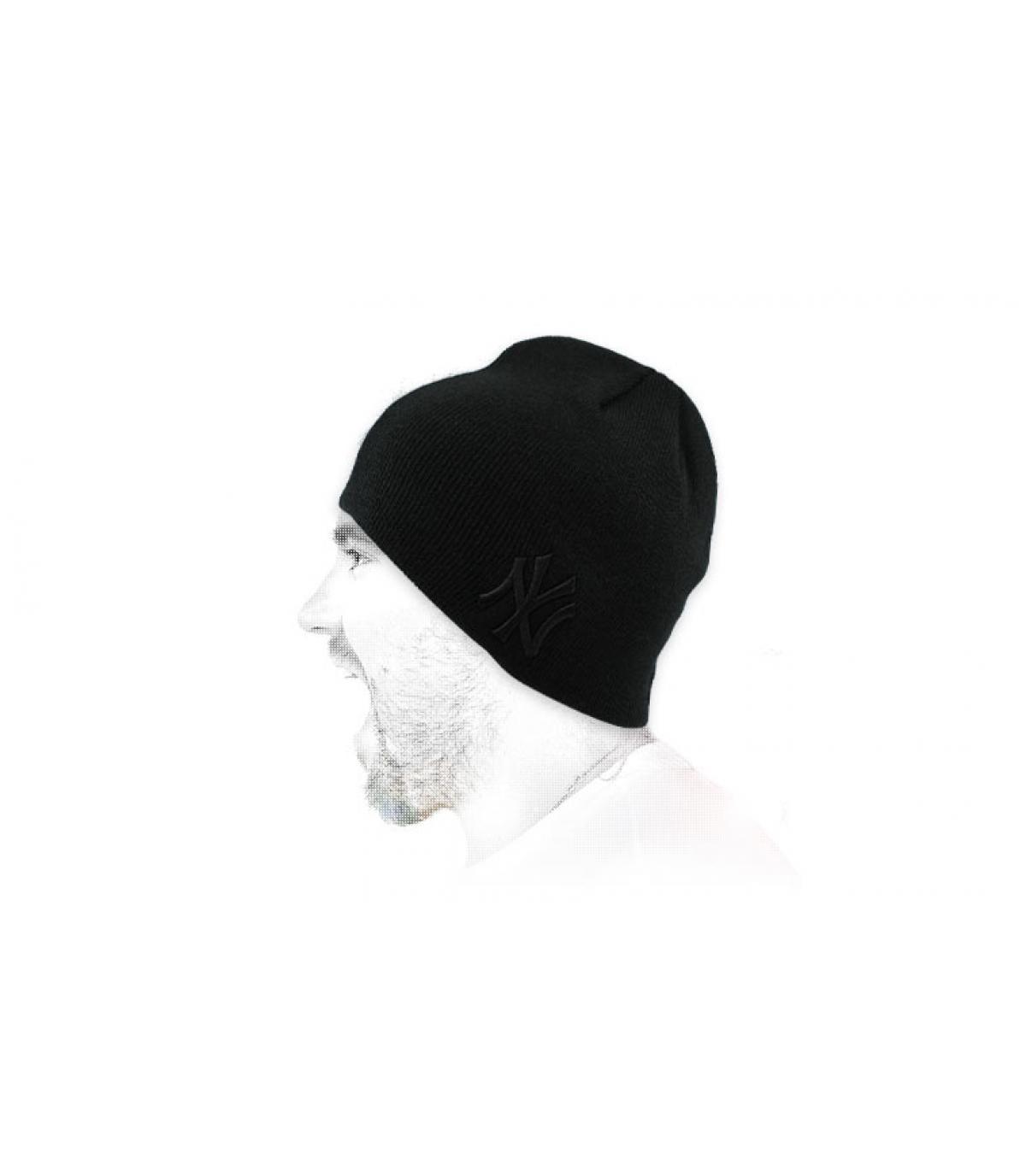 black NY beanie