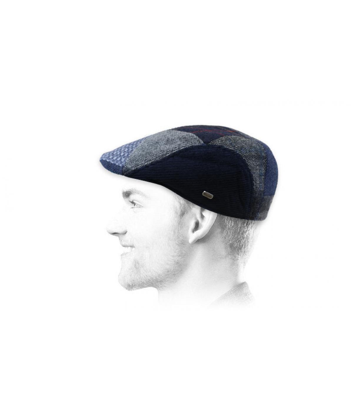 blue patchwork wool cap