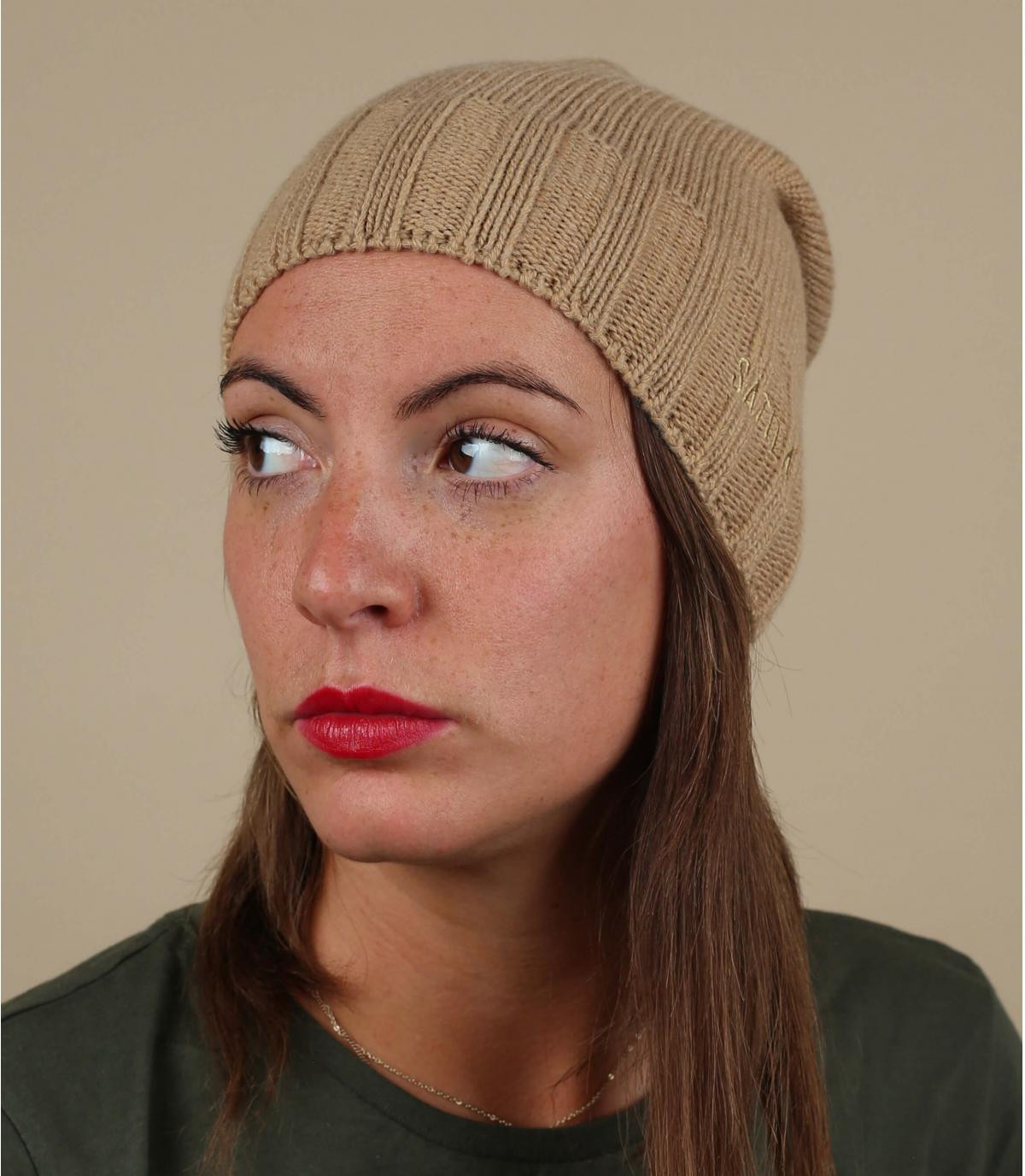 beige long beanie wool cashmere