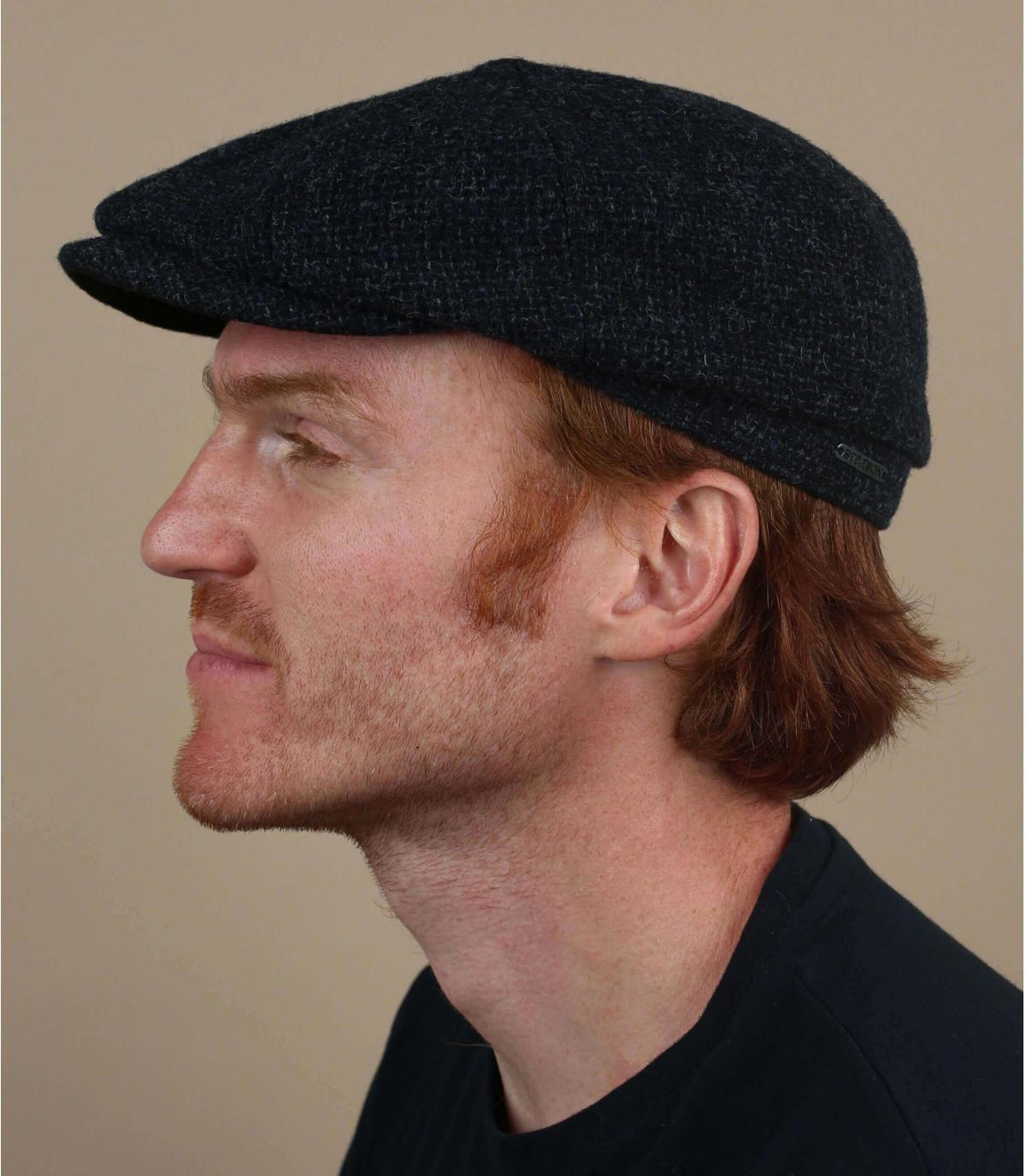 blue Shetland wool newsboy cap
