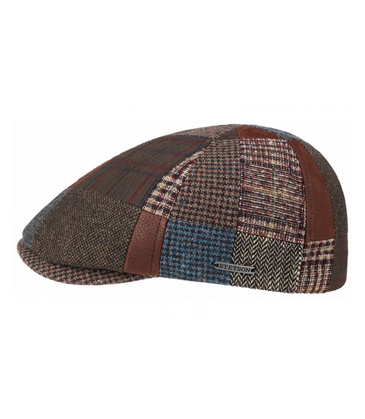 wool leather patchwork flat cap