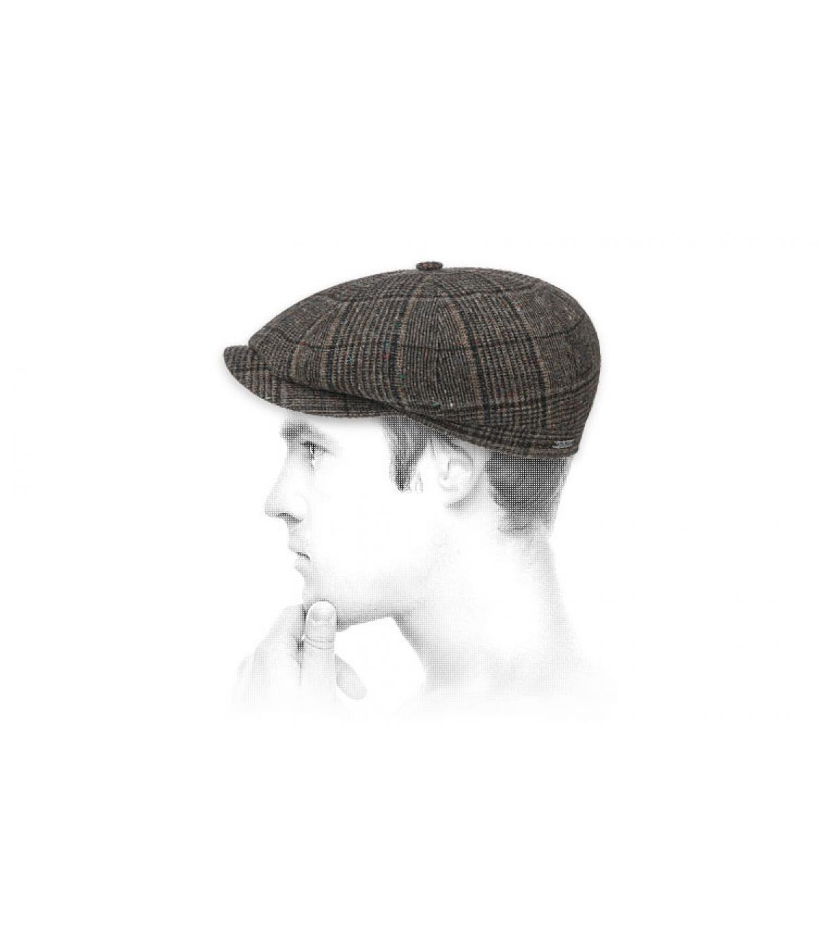brown wool newsboy cap