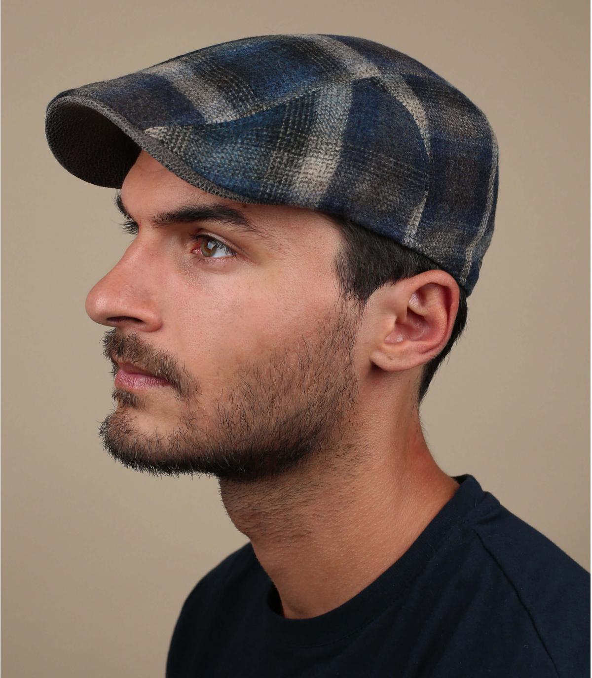 blue beige wool flat cap