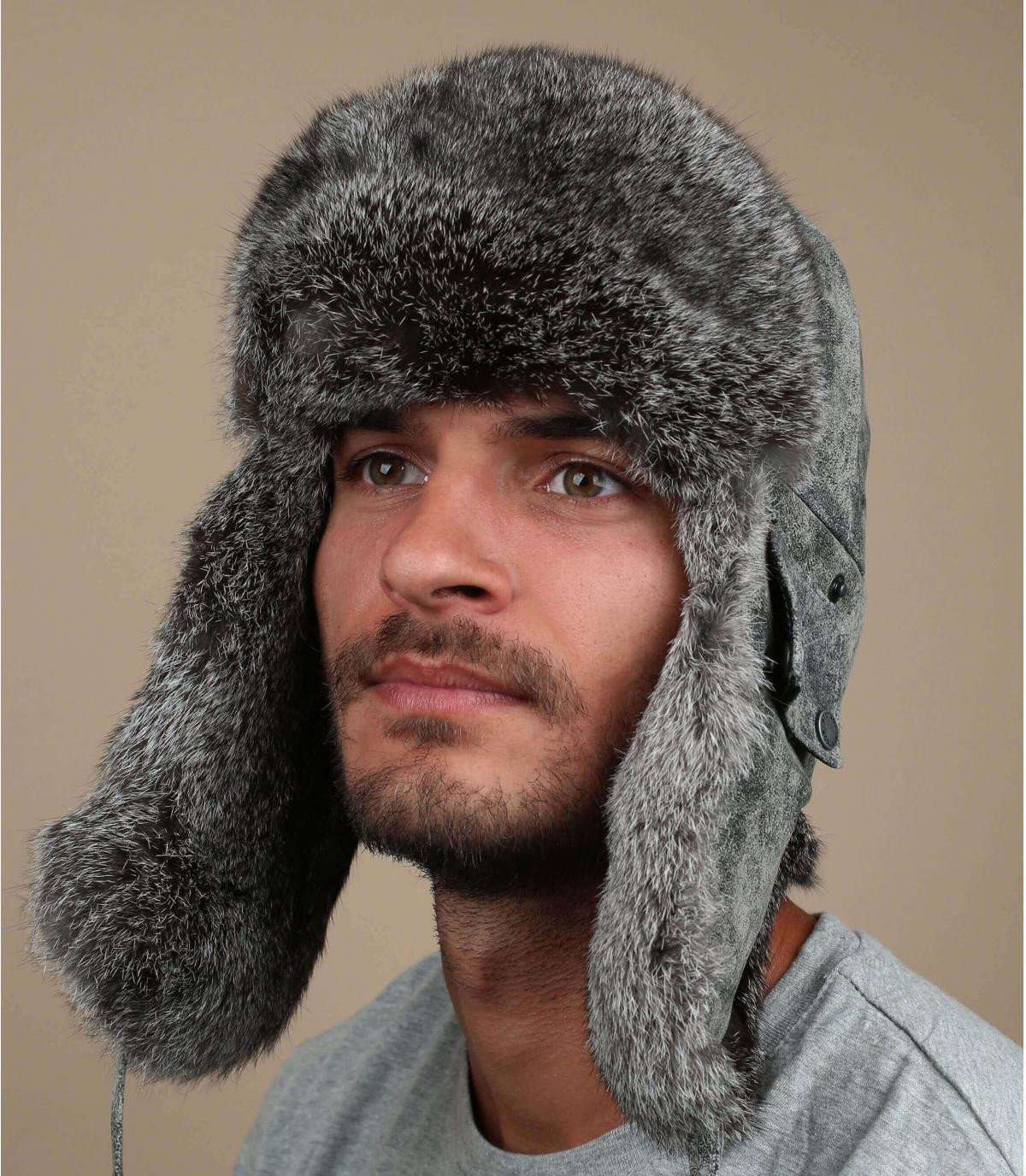 grey leather trapper hat