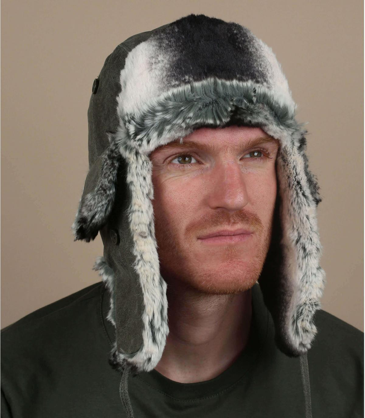 green leather trapper hat