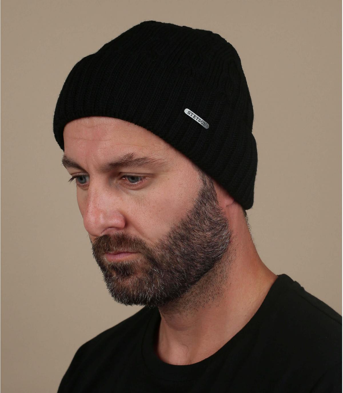 black cuffed beanie wool