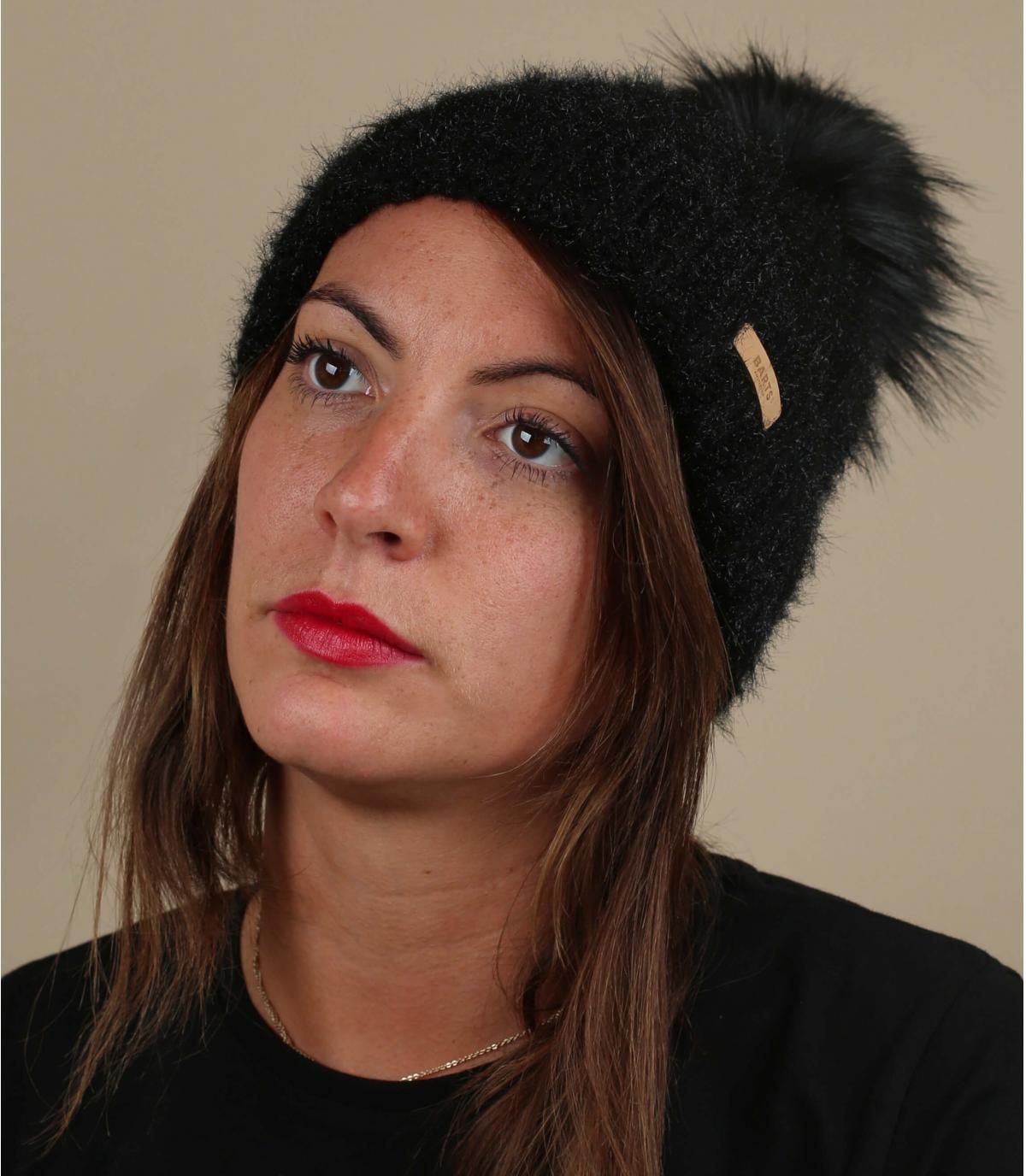 black beanie fur pompom