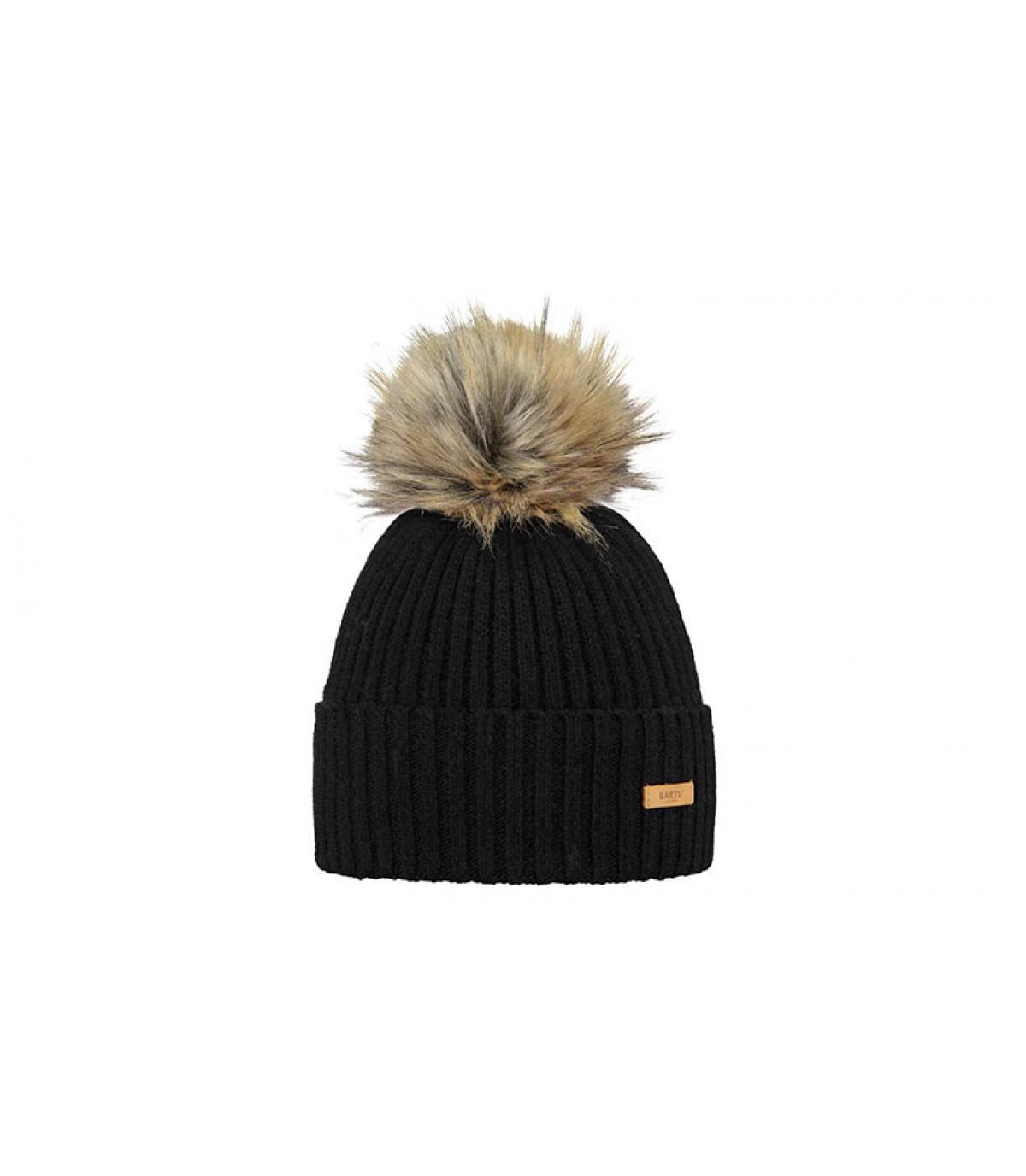black wool beanie fur pompom