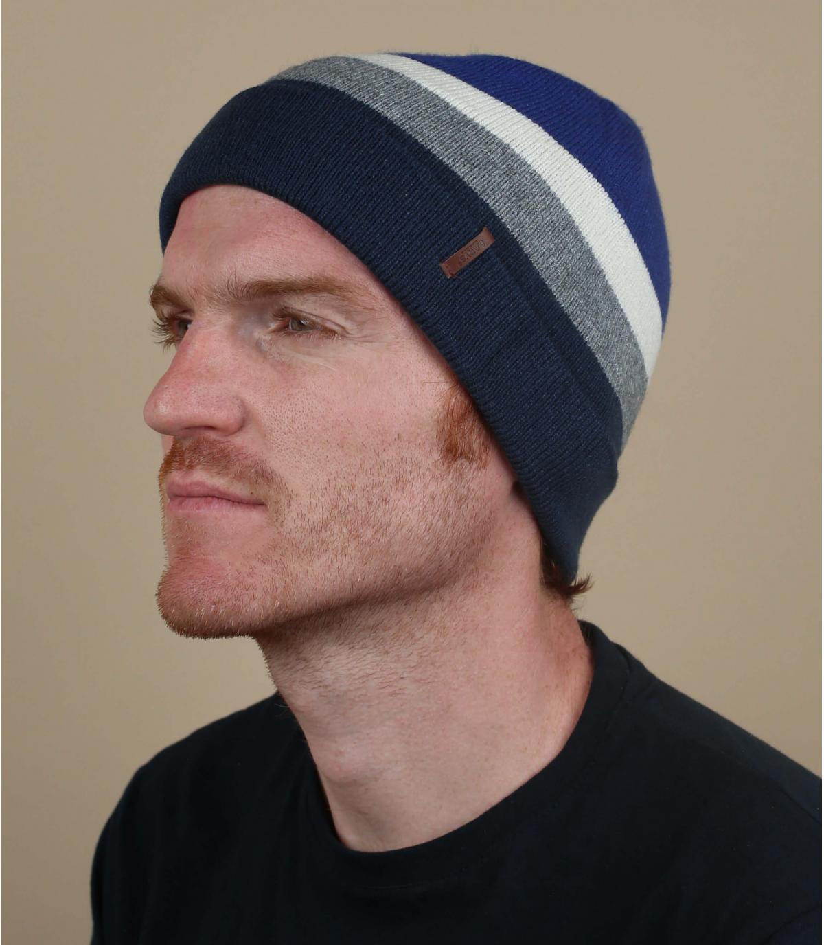 blue striped long beanie