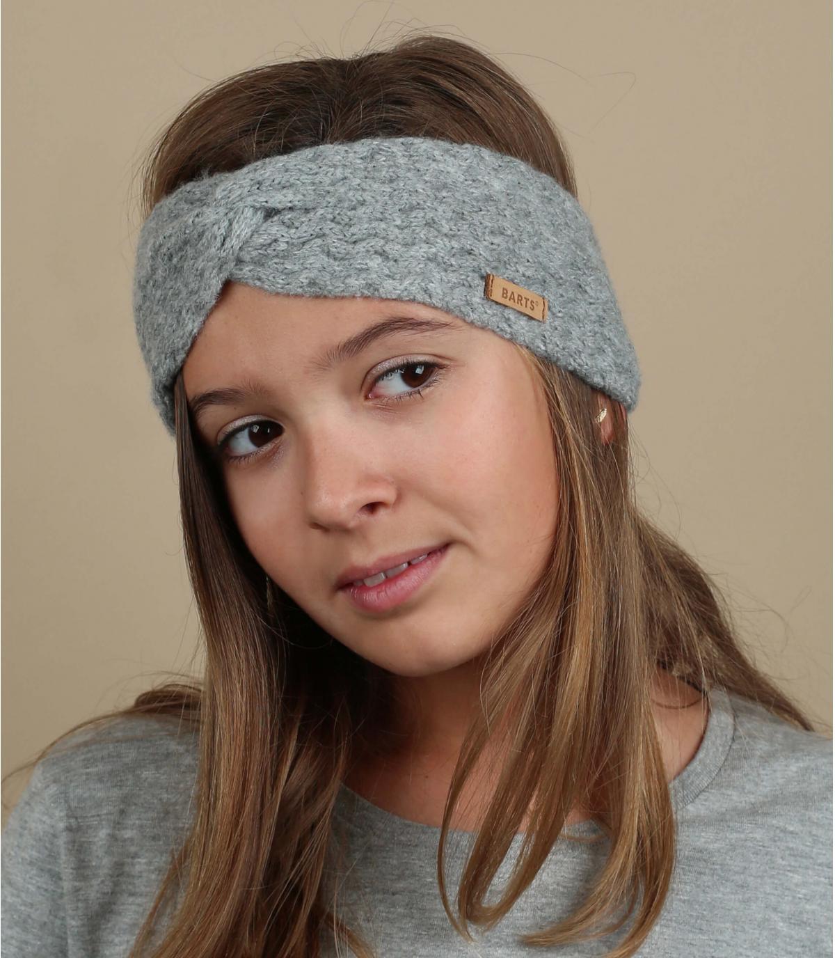 grey child headband cable knit