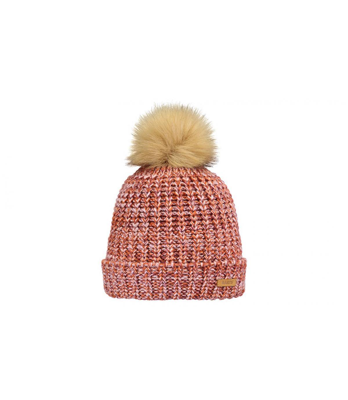 pink girl beanie fur pompom