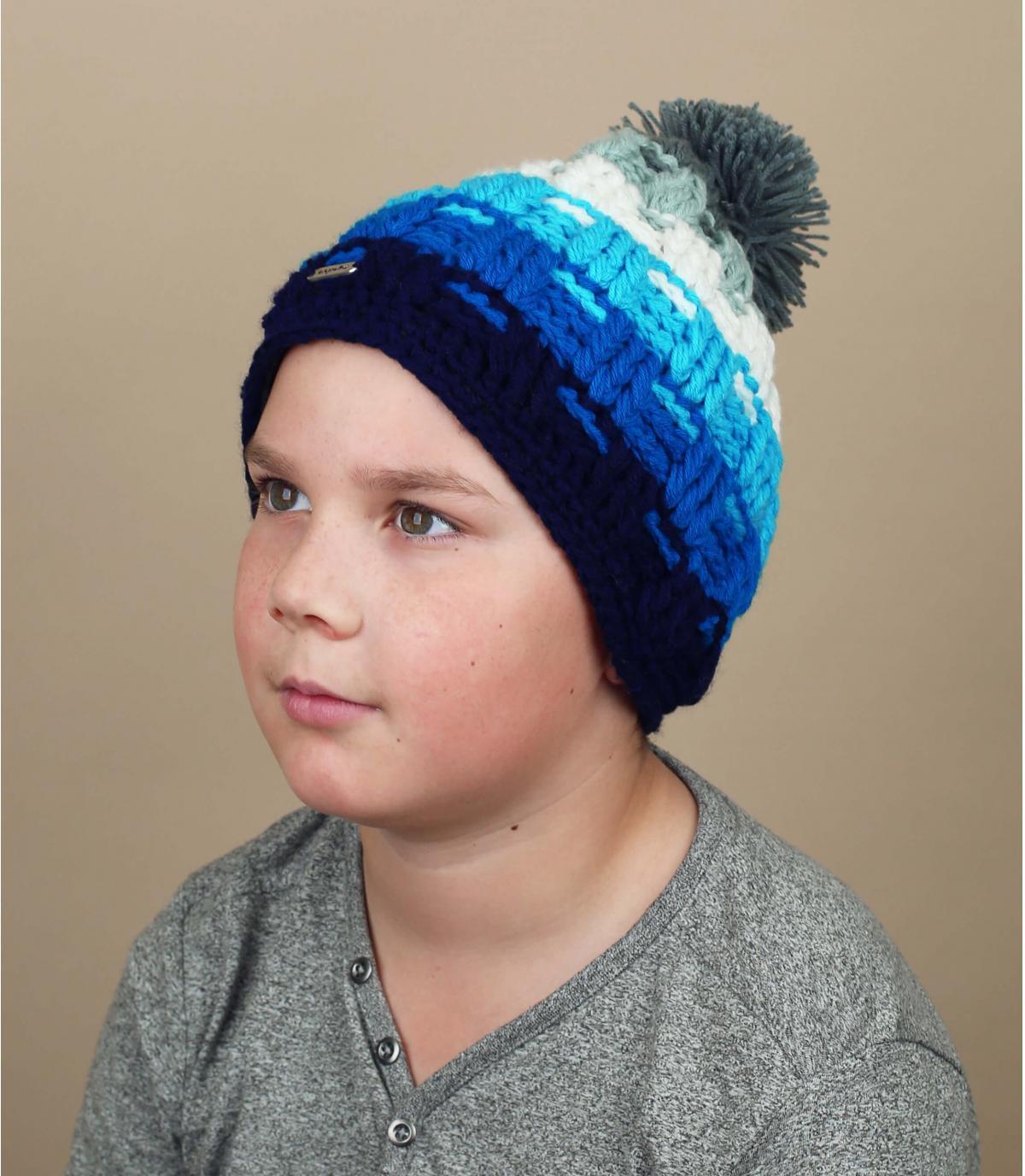 blue pompom beanie kids