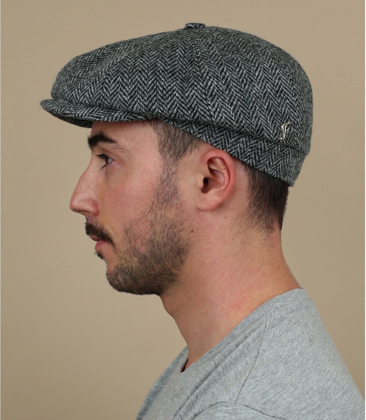 grey newsboy cap tweed