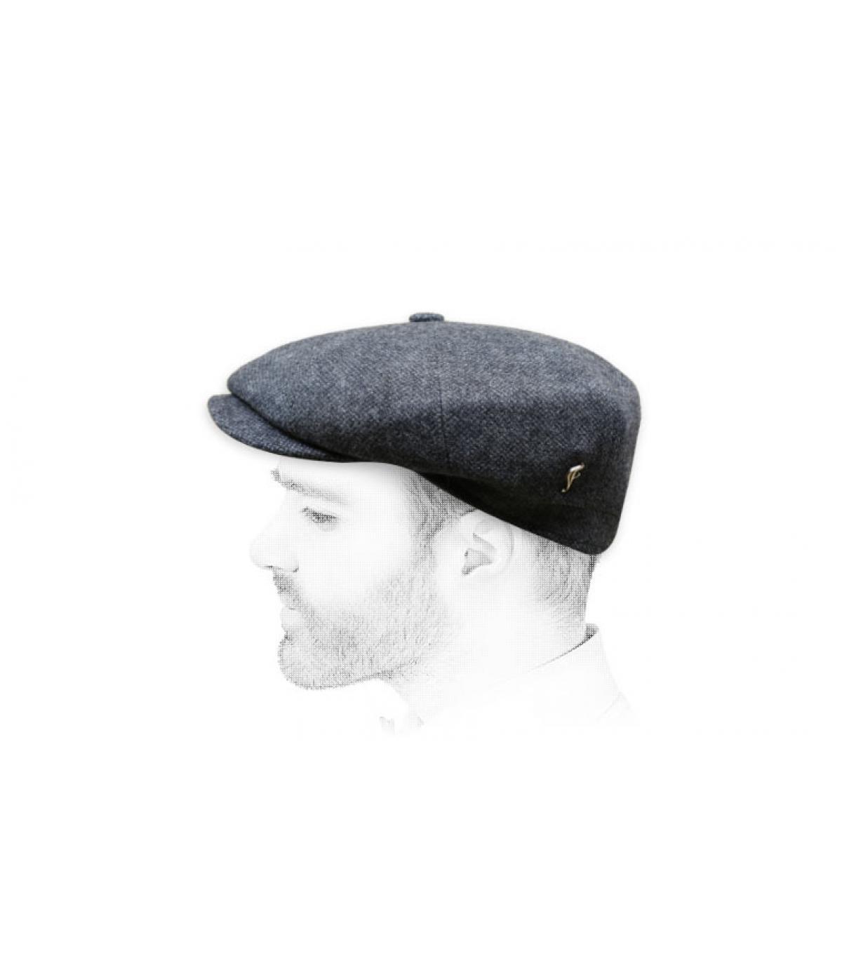 grey newsboy cap wool