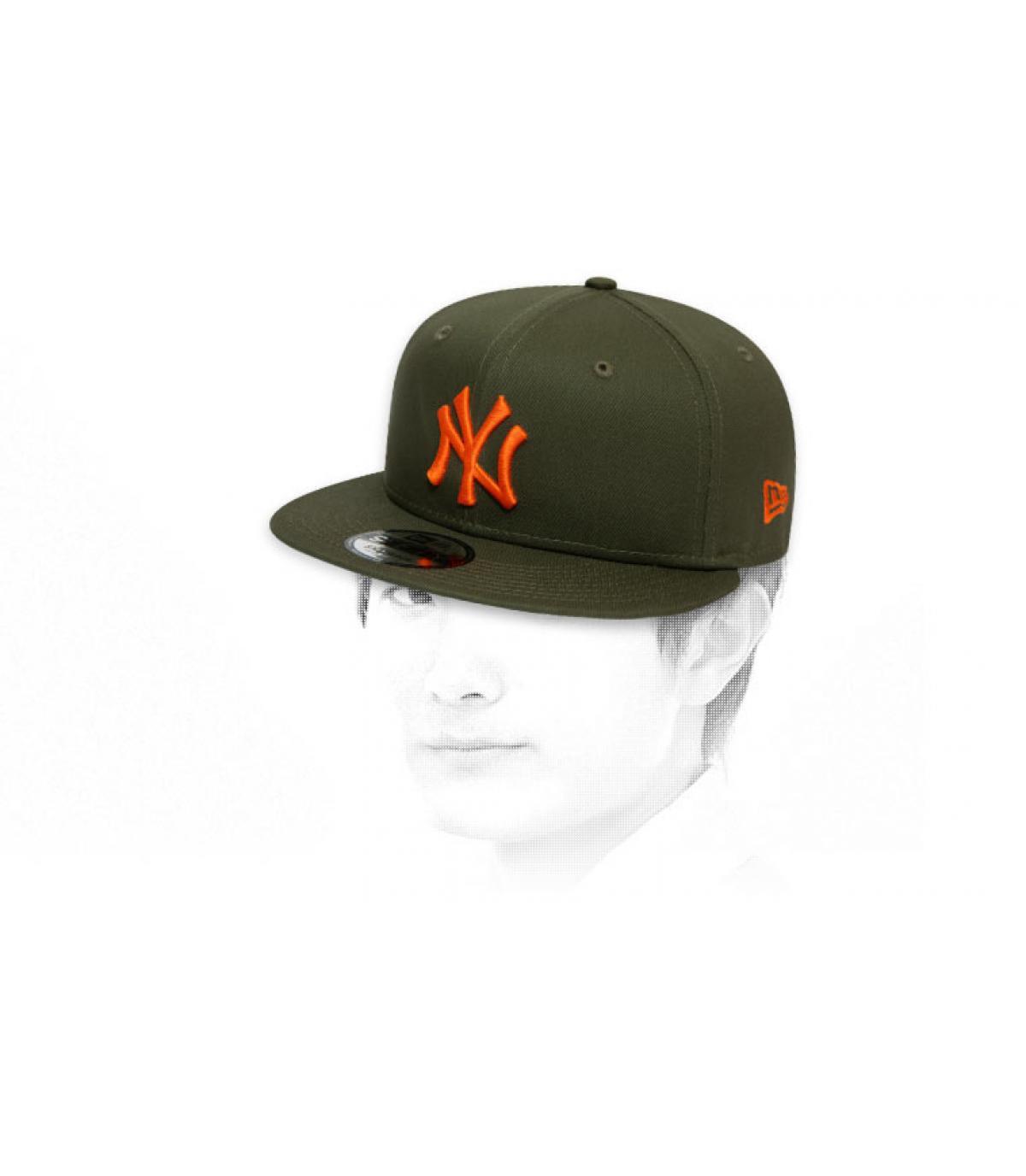 khaki orange New York snapback