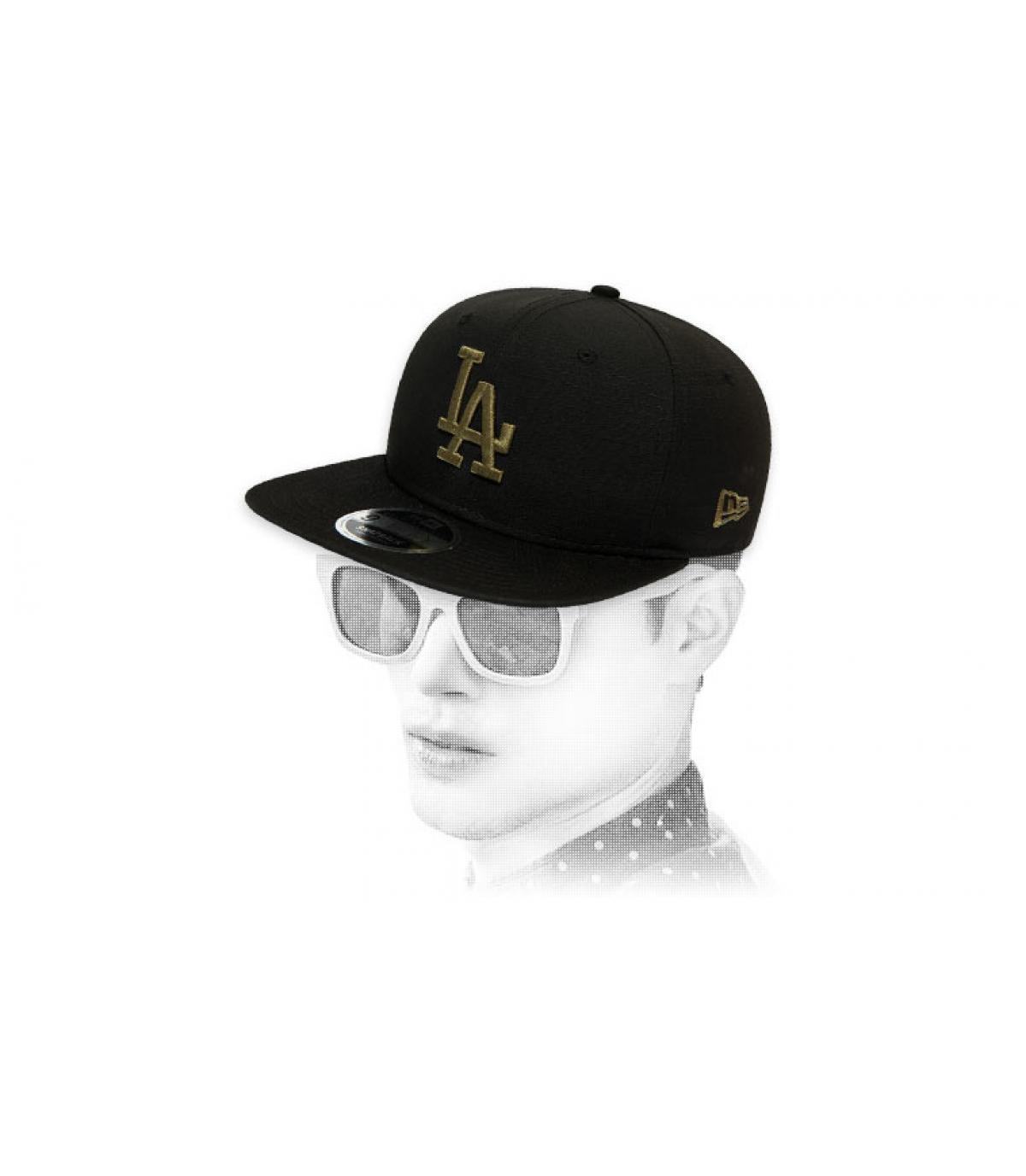 LA black khaki snapback