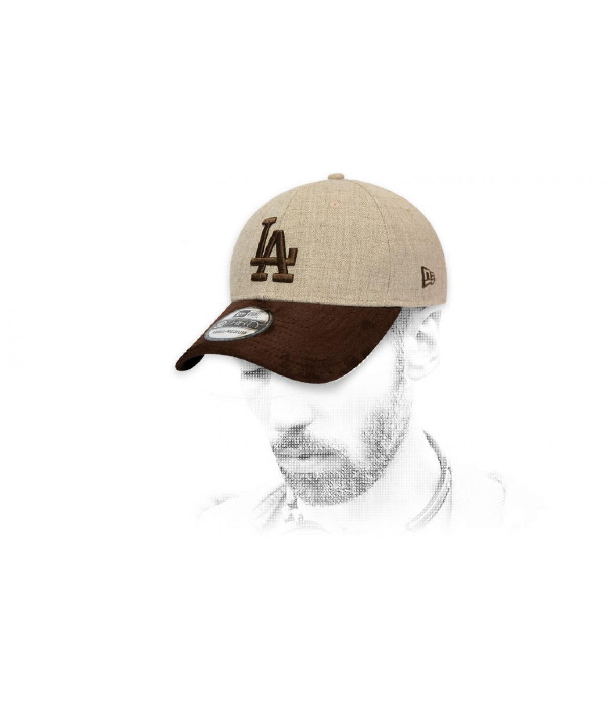 beige brown LA cap suede