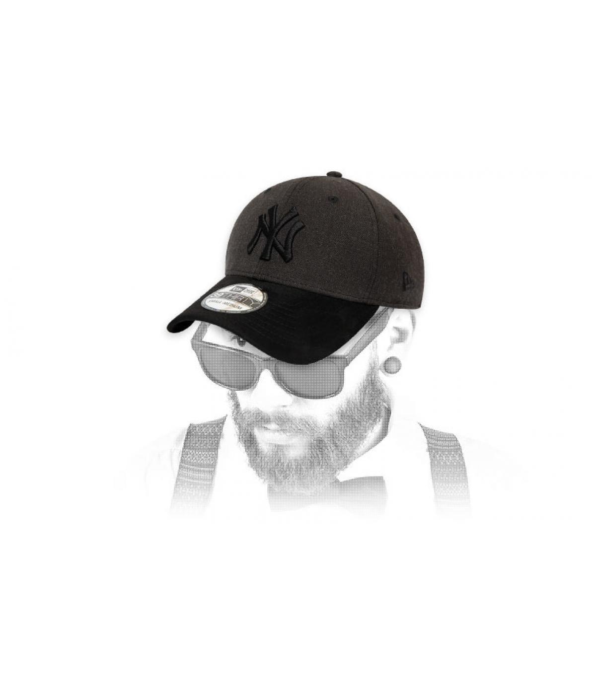 grey black NY cap suede