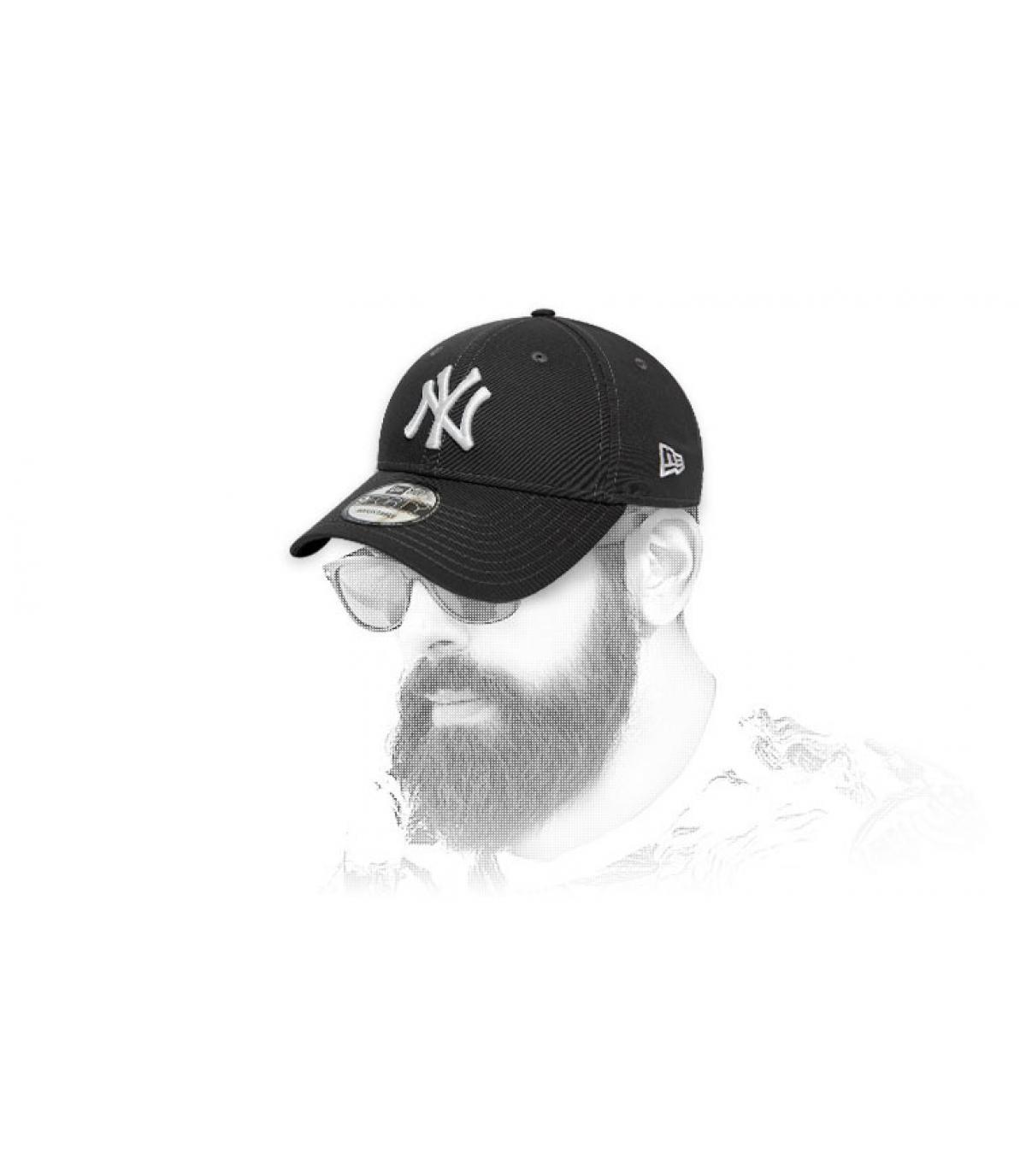 grey white NY cap